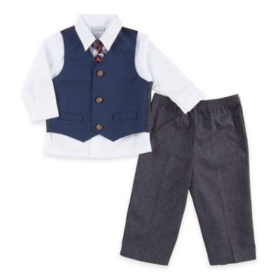 Nautica Kids® Size 3-6M 4-Piece Square Dot Vest, Shirt, Tie, and Pant Set in Blue/Charcoal