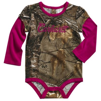 Carhartt® Realtree Xtra® Size 3M Camo Layered Long Sleeve Bodysuit with Pink Trim