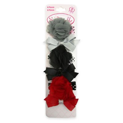 So'Dorable 6-Piece Grossgrain Flower Bow Hair Clips in Grey/Black/Red