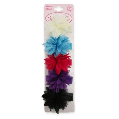 So'Dorable 5-Piece Chiffon Flower Hair Clips