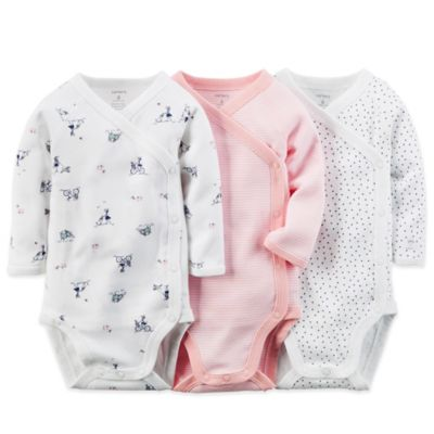Carter's® Newborn 3-Pack Long Sleeve Wrap Bodysuits in Navy/Pink/White