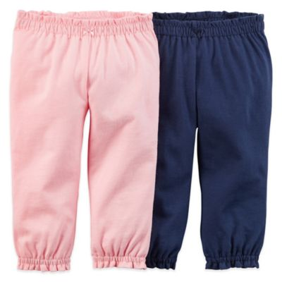 Carter's® Size 3M Pull-On Pant with Ruffle Cuff in Navy/Pink