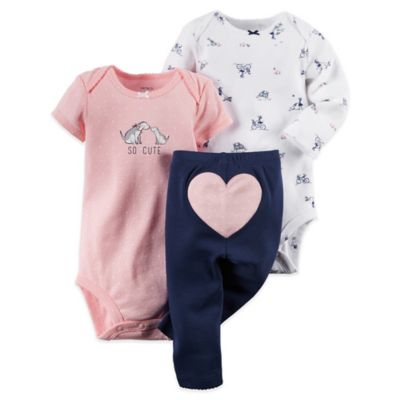 "Carter's® Size 3M 3-Piece ""So Cute"" Bodysuit and Pant Set in Pink/Navy"