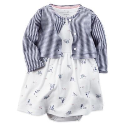 Carter's® Newborn 2-Piece Bike Dress and Cardigan Set in Navy/White