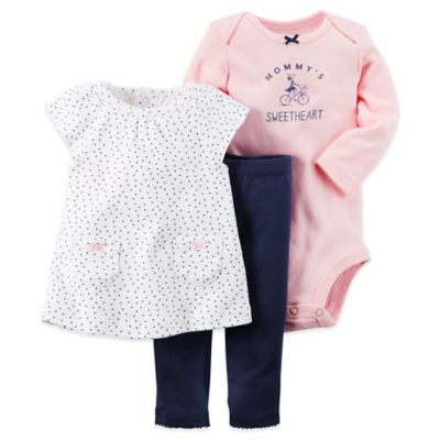 "Carter's® Size 6M 3-Piece ""Mommy's Sweetheart"" Bodysuit, Tunic and Pant Set in Pink/Navy"