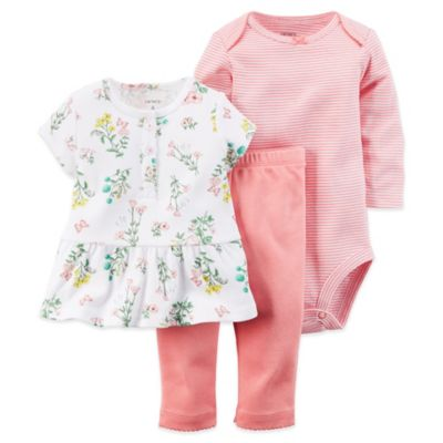 Carter's® Size 3-6M 3-Piece Floral Tunic, Bodysuit, and Pant Set in Coral