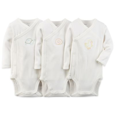 Carter's® Newborn 3-Pack Side-Snap Bodysuit in Ivory
