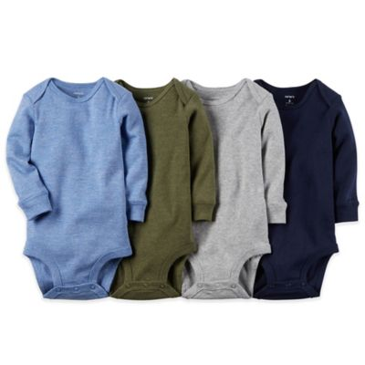 Carter's® Size 6M 4-Pack Long Sleeve Solid Bodysuits in Blue/Olive/Grey/Navy