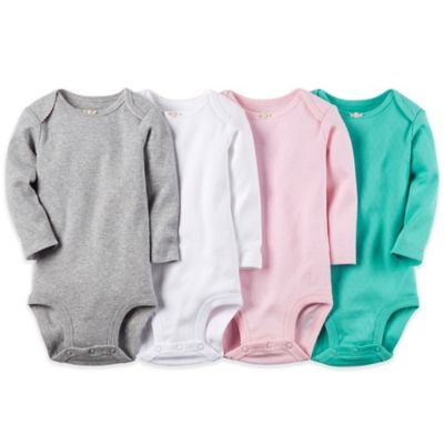 Carter's® Newborn 4-Pack Long Sleeve Pointelle Bodysuit in Grey/White/Pink/Green