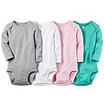 Carter's® Size 9M 4-Pack Long Sleeve Pointelle Bodysuit in Grey/White/Pink/Green