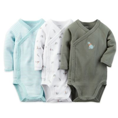 carter's® Newborn 3-Pack Side Snap Stripe/Dog Long Sleeve Bodysuits in Blue/White/Olive