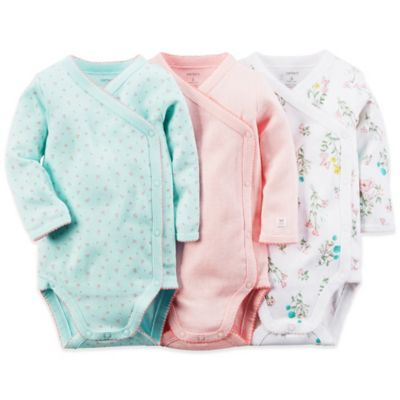 Carter's® Newborn 3-Pack Long Sleeve Wrap Bodysuits in Floral/Turquoise/Pink