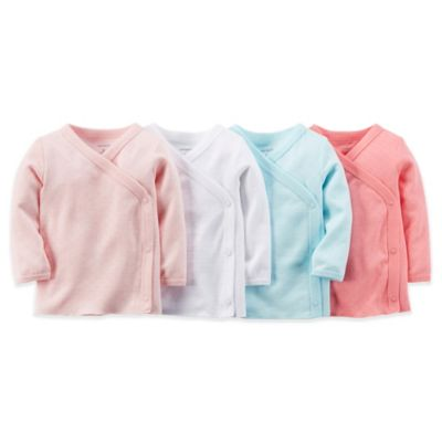 carter's® Size 3-6M 4-Pack Side Snap Pointelle Long Sleeve T-Shirts in Pink/White/Aqua