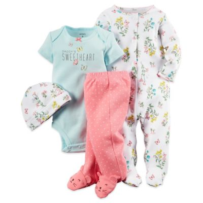"Carter's® Size 3M 4-Piece Floral Footie, ""Sweetheart"" Bodysuit, Footed Pant, and Hat Set"