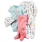 Carter's® Newborn 4-Piece Floral Footie,  Sweetheart  Bodysuit, Footed Pant, and Hat Set