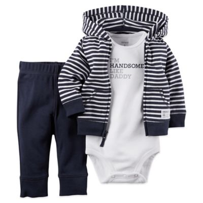 "Carter's® Size 3M 3-Piece ""Handsome Like Daddy"" Bodysuit, Hoodie, and Pant Set in Navy/Grey"