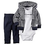 Carter's® Size 3M 3-Piece  Handsome Like Daddy  Bodysuit, Hoodie, and Pant Set in Navy/Grey