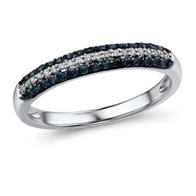 10K White Gold .25 cttw Blue and White Diamond Size 6 Ladies' Pave Multi-Row Ring