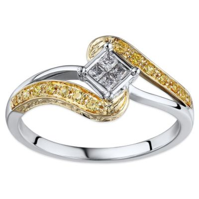 10K White and Yellow Gold .25 cttw White and Yellow Diamond Size 8 Wrapped Promise Ring