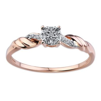 10K Rose Gold .10 cttw Diamond Composite Center Rope Accent Size 8 Ladies' Promise Ring