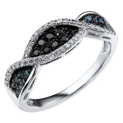 10K White Gold .40 cttw Black, Blue and White Diamond Infinity Size 8 Ladies' Ring