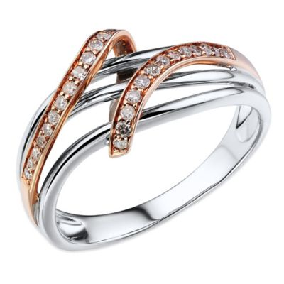 10K White and Rose Gold .16 cttw Diamond Two-Tone Fly Over Size 6 Ladies' Freeform Ring
