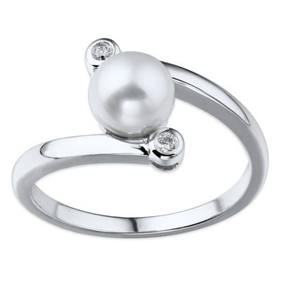 10K White Gold .03 cttw Diamond and White Cultured Freshwater Pearl Swirl Size 6 Ladies' Ring