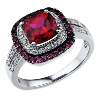 10K White Gold .07 Diamonds and Created-Ruby Cushion Cut Double Halo Size 6 Ladies' Ring