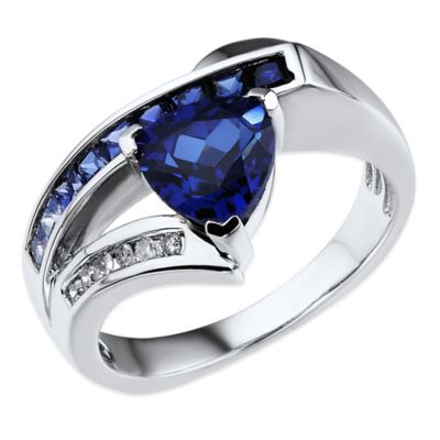 10K White Gold .05 cttw Diamond and Trillion Cut Created Sapphire Size 6 Ladies' Ring