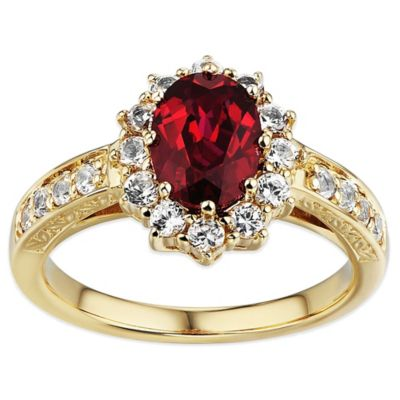 10K Yellow Gold Oval Created Ruby and Created White Sapphire Halo Size 8 Ladies' Ring
