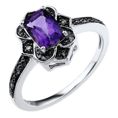 10K White Gold and Black Rhodium .03 cttw Diamond Cushion Cut Amethyst Art Deco Size 8 Ladies' Ring