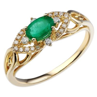 10K Yellow Gold .13 cttw Diamond Oval Emerald Entwined East/West Size 8 Ladies' Ring