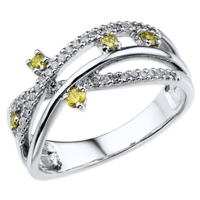 10K White Gold .32 cttw White and Yellow Diamond Crisscross Size 7 Ladies' Ring