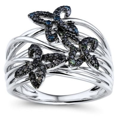 10K White Gold .10 cttw Black, Blue & Green Diamond Butterfly Crown of Size 6 Ring