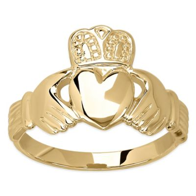14K Gold Polished Size 6 Ladies' Claddagh Ring
