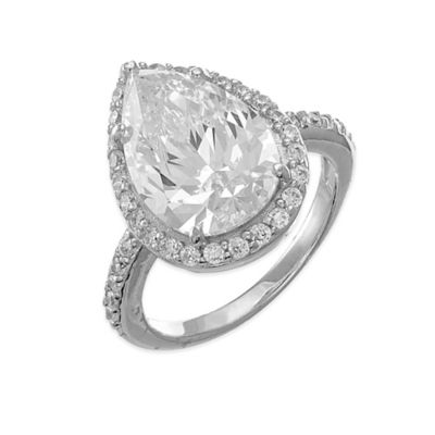 CZ by Kenneth Jay Lane White Pear Shaped CZ Size 6 Ladies' Halo Ring