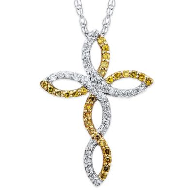 10K White Gold .25 cttw Yellow and White Diamond 18-Inch Chain Scalloped Cross Pendant Necklace
