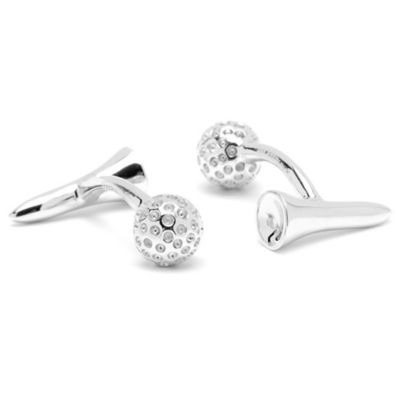 Sterling Silver Ravi Ratan Golf Ball and Tee Cufflinks