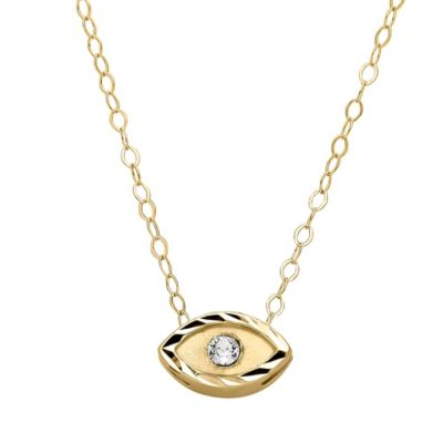 14K Yellow Gold Teeny Swarovski 17-Inch Chain Evil Eye Pendant Necklace