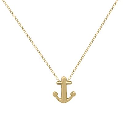 10K Yellow Gold 17-Inch Chain Anchor Pendant Necklace