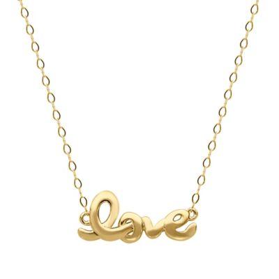 10K Yellow Gold 17-Inch Chain Script Love Pendant Necklace