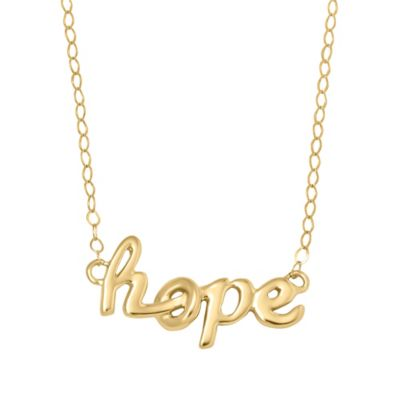 10K Yellow Gold 17-Inch Chain Script Hope Pendant Necklace