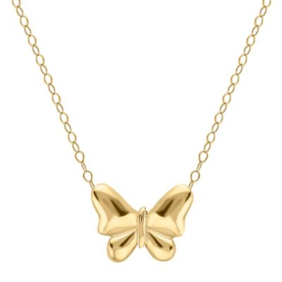 10K Yellow Gold 17-Inch Chain Butterfly Pendant Necklace