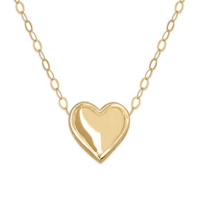 14K Yellow Gold Teeny 17-Inch Chain Solid Heart Pendant Necklace