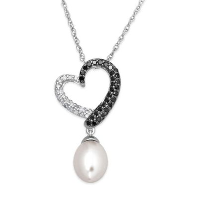 Sterling Silver cttw Black/White Diamond Freshwater Cultured Pearl Heart with Drop Pendant Necklace