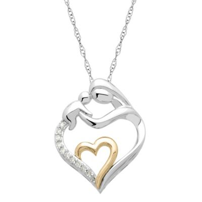14K Yellow Gold and Sterling Silver .95 cttw Diamond Mother/Child Heart Pendant Necklace