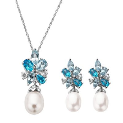 Sterling Silver Freshwater Cultured Pearl and Topaz Pendant Necklace and Earrings Set