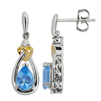 Sterling Silver 1.5 cttw Diamond and Blue Topaz Pear Drop Earrings