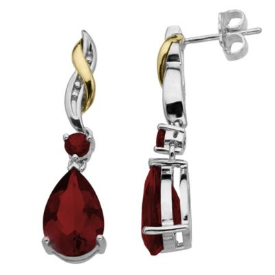 Sterling Silver and 10K Yellow Gold Pear Shape Garnet Drop Earrings