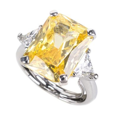 CZ by Kenneth Jay Lane Yellow Emerald Cut CZ and White Trillion Cut CZ Adjustable Cocktail Ring